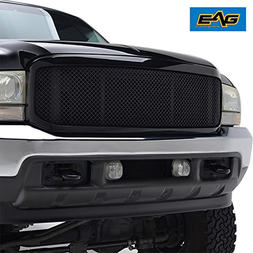 Black Grille Shell (E-Autogrilles 99-04 Ford Super Duty F-250/F-350 Replacement Black Stainless Steel Wire Mesh Front Upper Bumper Grille With Glossy ABS Shell)