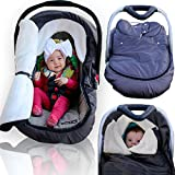 infant car seat fleece cover - Infant Baby Car Seat Cover - Weatherproof Sneak A Peek Stroller Cover for Cold Winter Weather - Amazingly Comfy Car Seat Cover with A Universal Fit