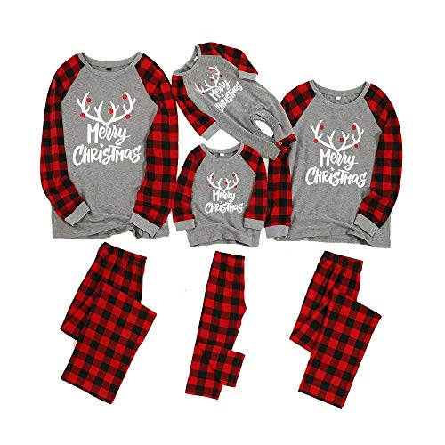Yaffi Matching Family Pajamas Sets Christmas PJ's with Letter Printed Long Sleeve Tee and Red Plaid Pants Loungewear Kids: 4-5 Years