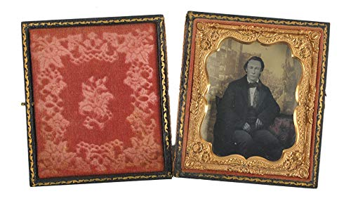 """Sixth-Plate Ambrotype -""""3D"""" Painted Portrait - Union Case with Velvet Lining"""