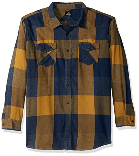 LEE Men's Long Sleeve Flannel Button Down Shirts, Aztec Gold, (Gold Flannel)