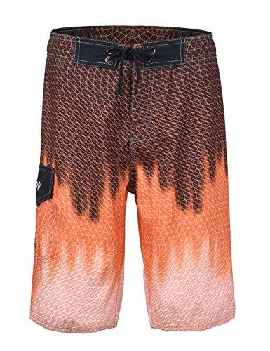 Unitop Men's Swimwear Boardshorts Summer Quick Dry Printed with Lining Blazing Orange 28 (Best Boxing Trunks Brand)