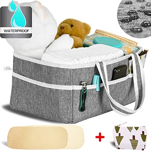 Baby Diaper Caddy Organizer by Massell Goods - Nursery Storage Bin and Car Organizer | Baby Shower Gift Basket | Diaper Tote Bag | Bundle with Changing Pad and Pouch | Newborn Registry Must Haves