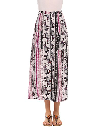 Chigant Women's Boho Floral Print Maxi Skirts A Line Long Skirts With Pocket
