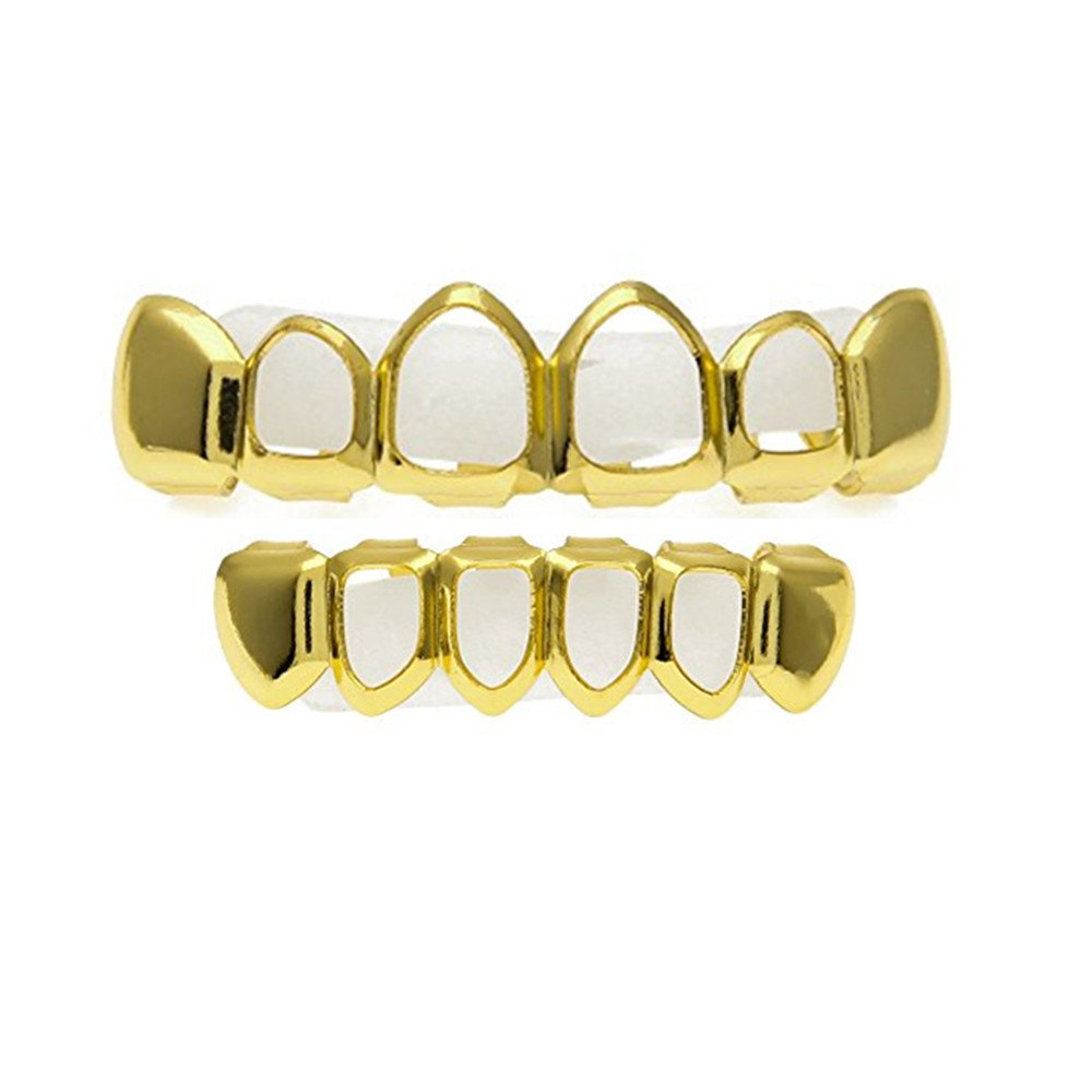 MCSAYS New Style Rhinestone Iced Out Hip Hop GANGSTER Bling Gold Teeth Grillz Top Bottom Grills Set Silicone Vampire Teeth