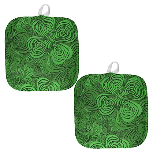 St Patricks Day Trippy Irish Clover Field All Over Pot Holder (Set of 2) Multi Standard One Size -