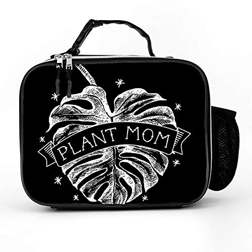 Welkoom Lunch Bag with Plant Mom Vintage Monstera Heart Tattoo - Black Mens Lunchbox For Adults|Durable Thermal Lunch Cooler Pack with Strap for Boys Men Women Girls