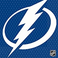Amscan NHL Hockey Sports Tampa Bay Lightning Party Luncheon Napkins (16 Piece), Blue, 6.5 x 6.5""