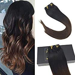 "Sunny 24"" Double Weft Clip in Hair Extensions Ombre #1b Natural Black to #4 Dark Brown Remy Clip in Human Hair Extensions 7 Pcs 120Gram Per Package"