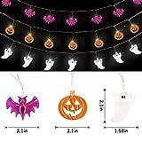GIGALUMI 3 Set Halloween String Lights 6.5ft Battery Operated Pumpkin Bat Ghost Halloween Lights Decoration Halloween, Christmas, Party