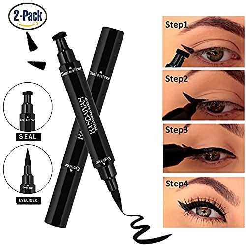 Eyeliner Stamp –2 Pens Double-sided Winged Eyeliner Pen, Waterproof Smudgeproof Long Lasting Liquid Eyeliner Pencil, Vamp Style Wing, No Dipping Required(10mm Classic Black) ()