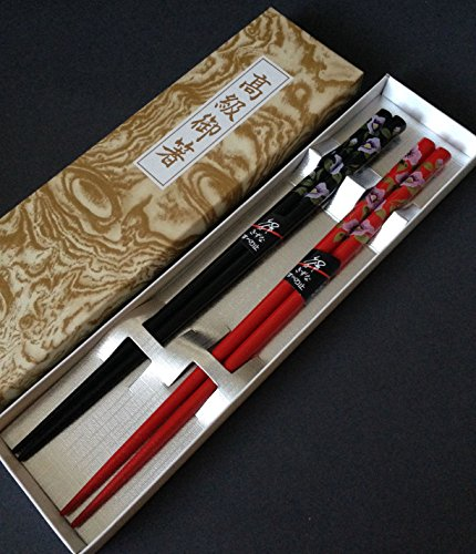 Set of 2 Pairs Japanese Wooden Lacquer Floral Chopsticks Hair Stick Gift Box Set by Yokohama Gifts