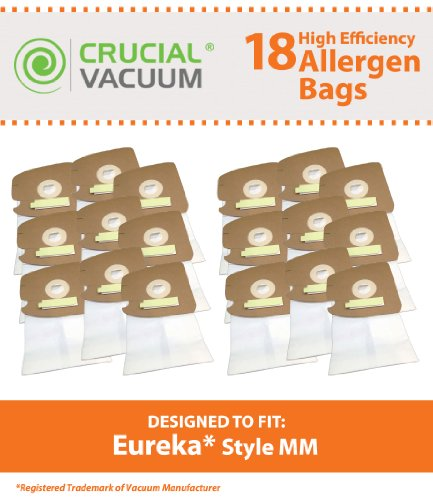 18 Eureka Style MM Mighty Mite & Sanitaire Allergen Filtration Vacuum Cleaner Bags, Compare to Eureka Part #60295, 60296, 60297, Designed & Engineered By Crucial Vacuum (Vacuum Bags Style Mm compare prices)