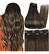 Full Shine Brazilian Hair Extensions Clip In Human Hair, Lace Clip In Hair Extensions 20 Inch Rea...