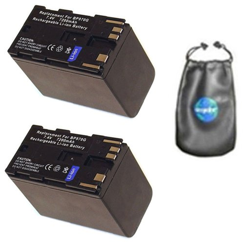 ValuePack (2 Count): Digital Replacement Camera and Camcorder Battery for Canon BP-9387ZH, BP-950, BP-950G, BP-950G (OTH), BP-970, XH A1, XH A1S - Includes Leatherette Camera / Lens Accessories Pouch - Canon Xh A1 Accessories