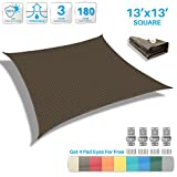 Patio Paradise 13' x 13' Brown Sun Shade Sail Square Canopy - Permeable UV Block Fabric Durable Patio Outdoor - Customized Available