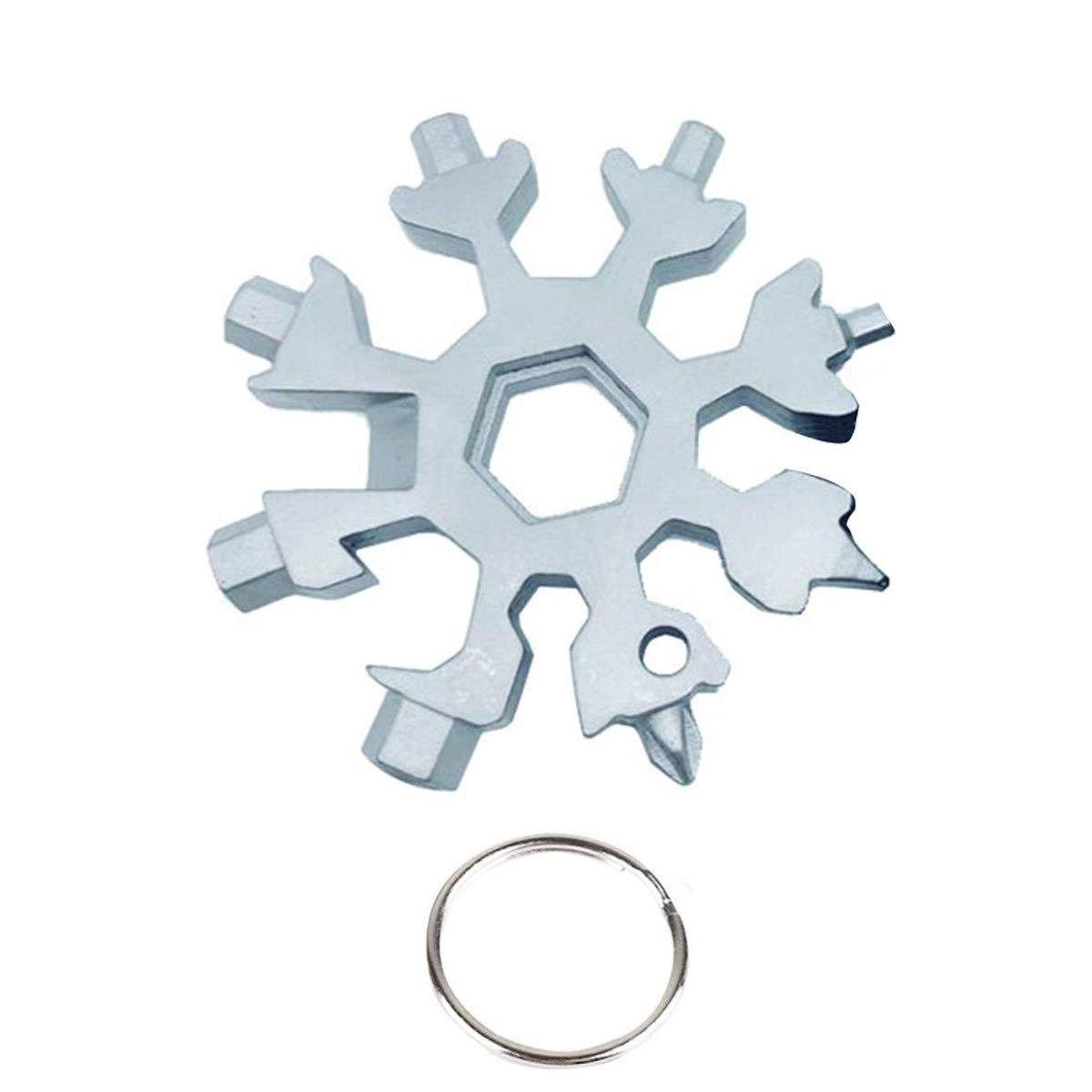 Ansblue 18-in-1 Snowflake Multi Tool, Stainless Steel Outdoor EDC Tools,Outdoor Portable Snowflake Keychain Screwdriver Bottle Opener Incredible Tool for Military Enthusiasts(Silver+Black)