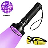 YOUTHINK UV Blacklight Flashlight Pet Stain Urine Detector, Bright 100 LEDs Black Light Torch Bed Bug and Scorpion Finder with UV Glasses