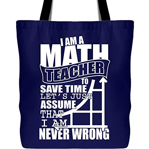 Being A Math Teacher Canvas Tote Bags, I Am A Math Teacher To Save Time Tote Bag for Shopping (Tote Bags - -