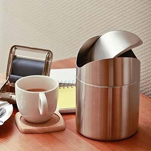 K-Steel Stainless Steel Wave cover Countertop Small trash can Kitchen Desktop Mini Wastebasket