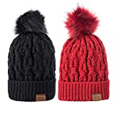 Women Winter Pom Pom Beanie Hat with Warm Fleece Lined, Thick Slouchy Snow Knie Skull Ski Cap for womens 2 Pack
