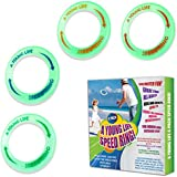 [4 Pack] Kid's Flying Rings Flying Disc - Glow in The Dark - Fly Straight - Weight 1.15 OZ Only - Floats On The Water - Best Healthy Activities for Your Family - Party Outside and Play! - Made in USA