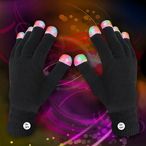 Fun Central R94 LED Gloves, Rave Gloves, LED Gloves Rave, Glow Gloves, Glow in the Dark Gloves, Gloves Rave - 1 Pair