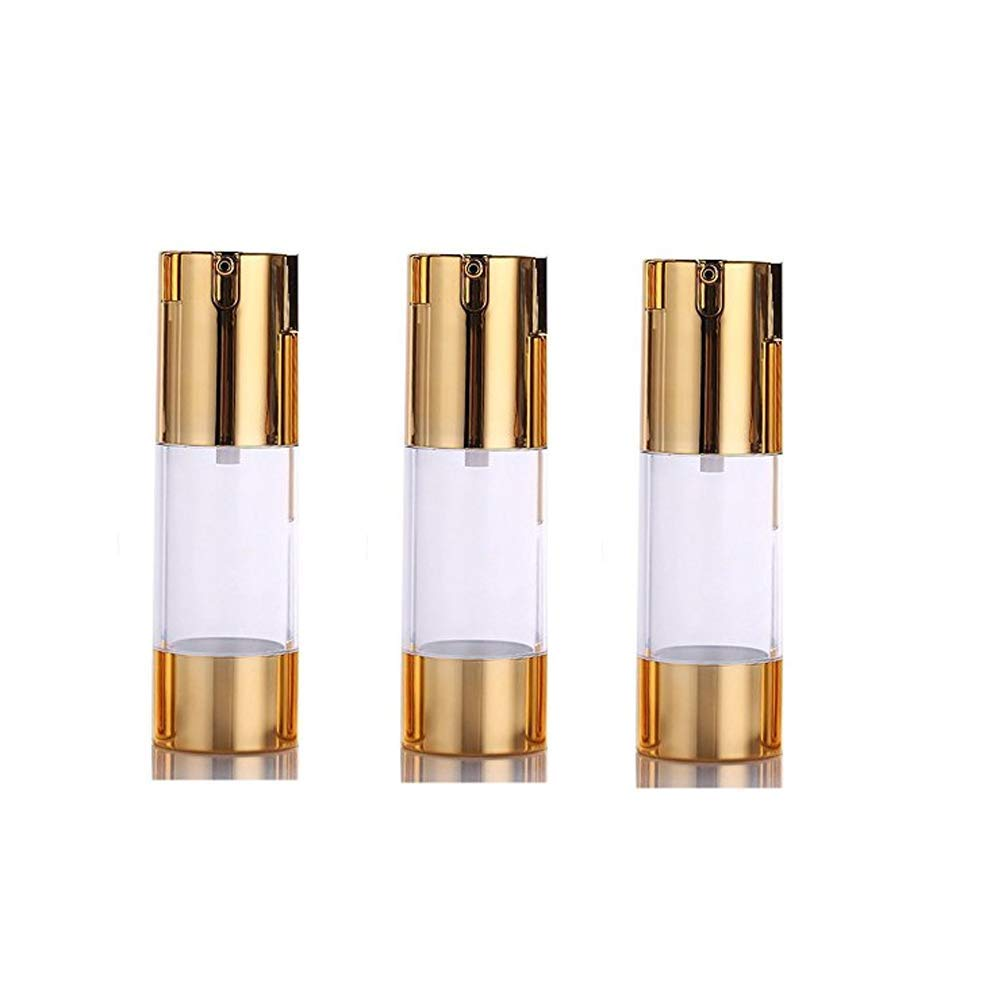 3Pcs Plastic Airless Pump Bottles - Golden Empty Refillable Vacuum Bottle For Cosmetic Makeup Lotion Emulstion Toiletries Liquid Sample Package Container Jar size 30ML /1oz