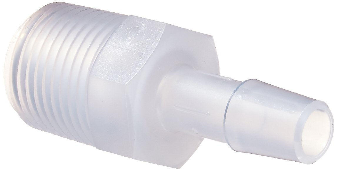 Eldon James A6-5PP Non-Animal Derived Polypropylene Adapter Fitting, 3/8-18 NPT to 5/16'' Hose Barb (Pack of 10) by Eldon James