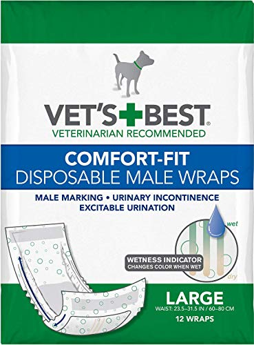 Vet's Best Male Wraps for Dogs, Comfort-Fit Disposable, Large, 12 Count, 2 Pack