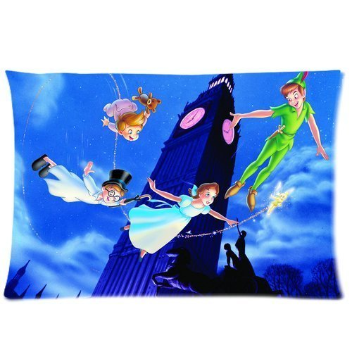 Peter Pan Flying Big Ben Custom Design Pillowcase Pillow Sham Queen Size Pillow Cushion Case Cover Two Sides Printed 20x30 Inches (Peter Pan Pillow compare prices)