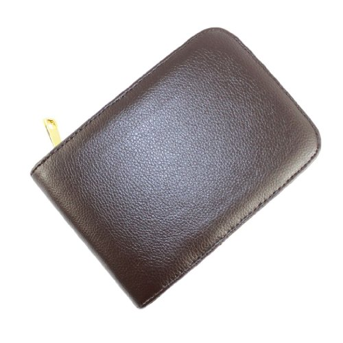 Gullor Fountain Pen Case for 12 Pens Leather Brown with Golden Zipper