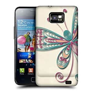 AIYAYA Samsung Case Designs Butterfly Quilling Protective Snap-on Hard Back Case Cover for Samsung Galaxy S2 II I9100