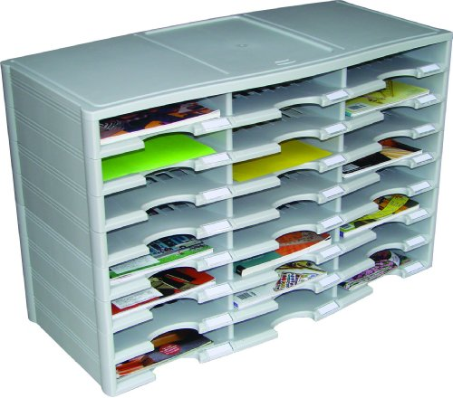 Storex 24-Compartment Literature Organizer/Document Sorter, Grey (61610U01C)