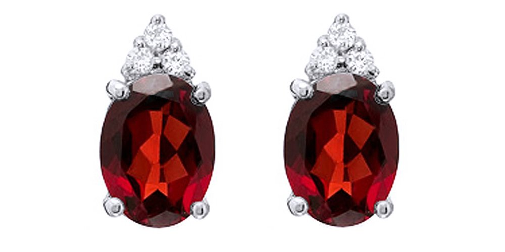 10k Solid White God Oval Simulated Garnet & White Natural Diamond Top Stud Earrings