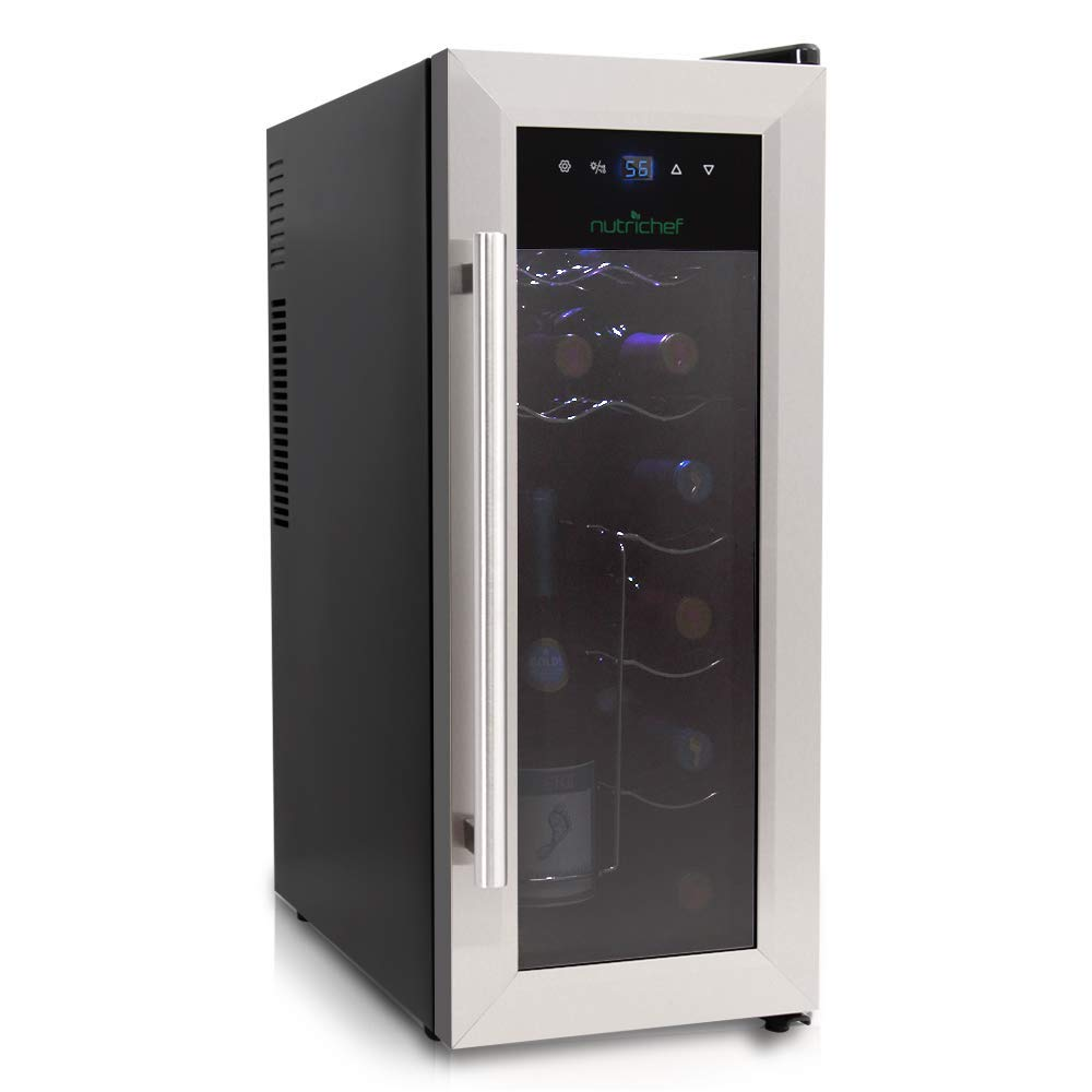 NutriChef 12 Bottle Thermoelectric Wine Cooler / Chiller | Counter Top Red And White Wine Cellar | FreeStanding Refrigerator, Quiet Operation Fridge | Stainless Steel (Renewed) by NutriChef