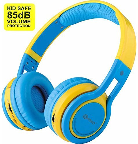 Contixo KB-2600 Kid Safe 85dB Over The Ear Foldable Wireless Bluetooth Headphone with Volume Limiter, Built-in Micro Phone, Micro SD Card Music Player, FM Stereo Radio, Blue/Yellow]()