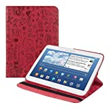 kwmobile? 360??Epremium LEATHER CASE Comic design for Samsung Galaxy Tab 3 10.1 P5200 / P5210 / P5220 Red with practical stand by KW-Commerce