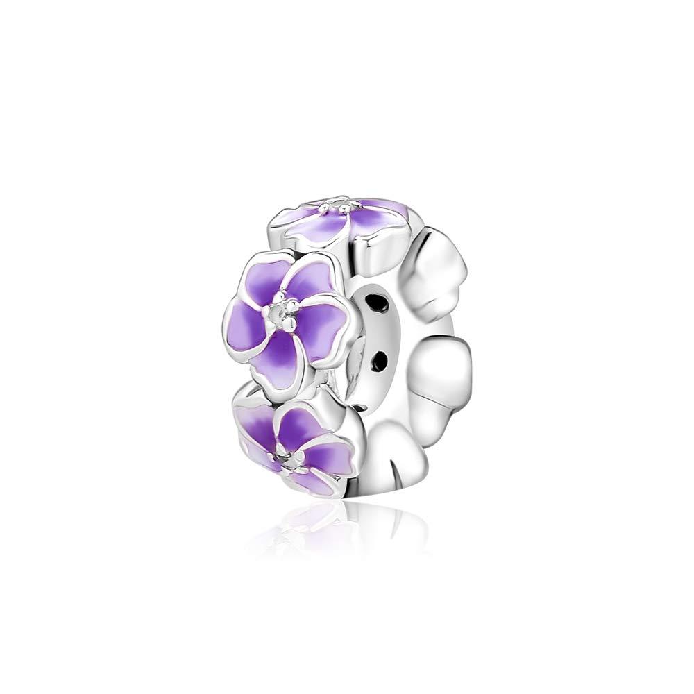 df6174b29 Amazon.com: CKK 925 Sterling Silver Purple Flower Spacers Charm Fit for  Pandora Bead Bracelet DIY String Bead Women Jewelry Gift: Jewelry