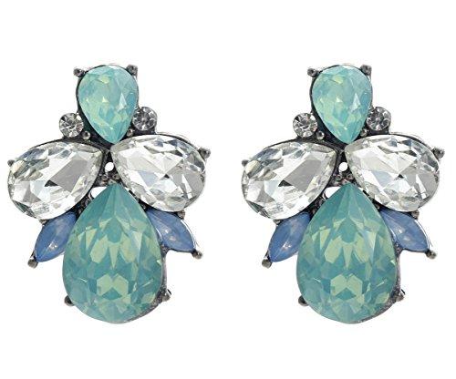 Art Deco Antique Vintage Retro Style Sea Foam Mint Green Tiffan Blue Opal Rhinestone Bridal Bridesmaid Wedding Prom Cluster Earrings