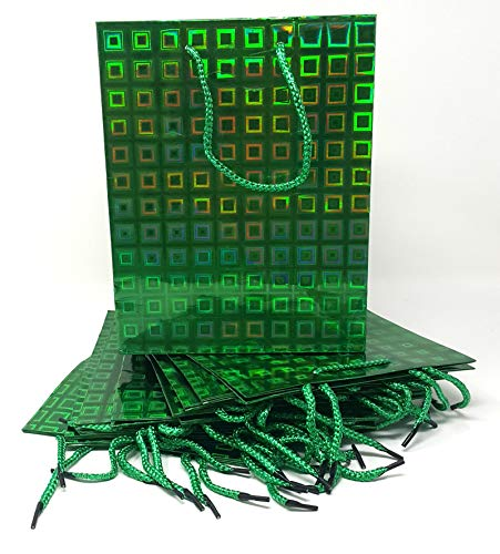 (Style Design (TM) Dozen Gift Bags - 12 Beautiful Hologram Medium Gift Bags for Presents, Parties or Any Occasion (Medium, Green))