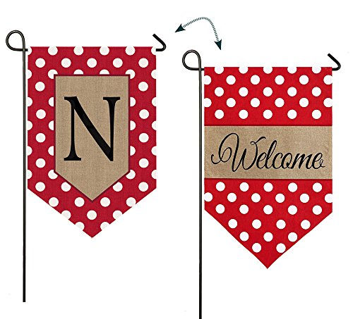 - Evergreen Enterprises 14B3477NFB Polka-Dot Welcome Monogram Garden Flag Letter: N