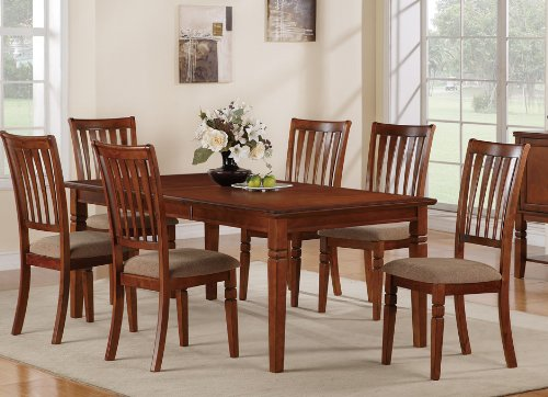 7pc Casual Dining Set with Leaf in Cherry Wood Finish