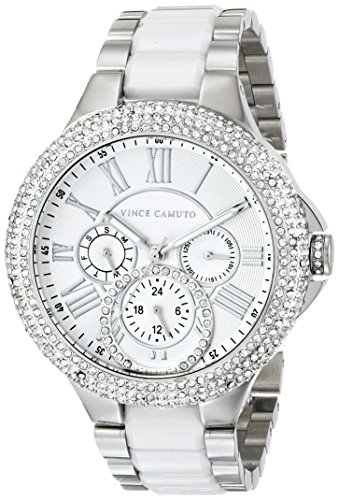 Vince Camuto Women's VC/5181WTSV Swarovski Crystal Accented Multi-Function Silver-Tone White Ceramic Bracelet Watch