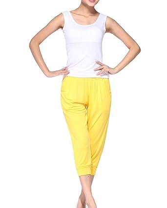 Deportes Yoga Pantalones Deporte Trajes Gimnasio Conjuntos para Mujer Y Camisetas Yoga Ropa Blanco Amarillo S