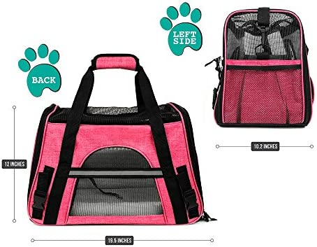 PetAmi Premium Airline Approved Soft-Sided Pet Travel Carrier by Ventilated, Comfortable Design with Safety Features | Ideal for Small to Medium Sized Cats, Dogs, and Pets 4