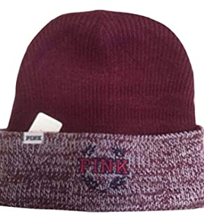 62444b12c0cd3 Victoria s Secret PINK Deep Ruby   Ruby Marl Reversible Beanie Winter Hat  ...