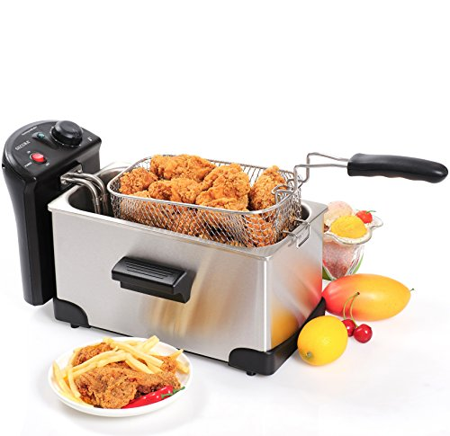Secura Stainless Steel Deep Fryer with Basket, 3.2 Quart