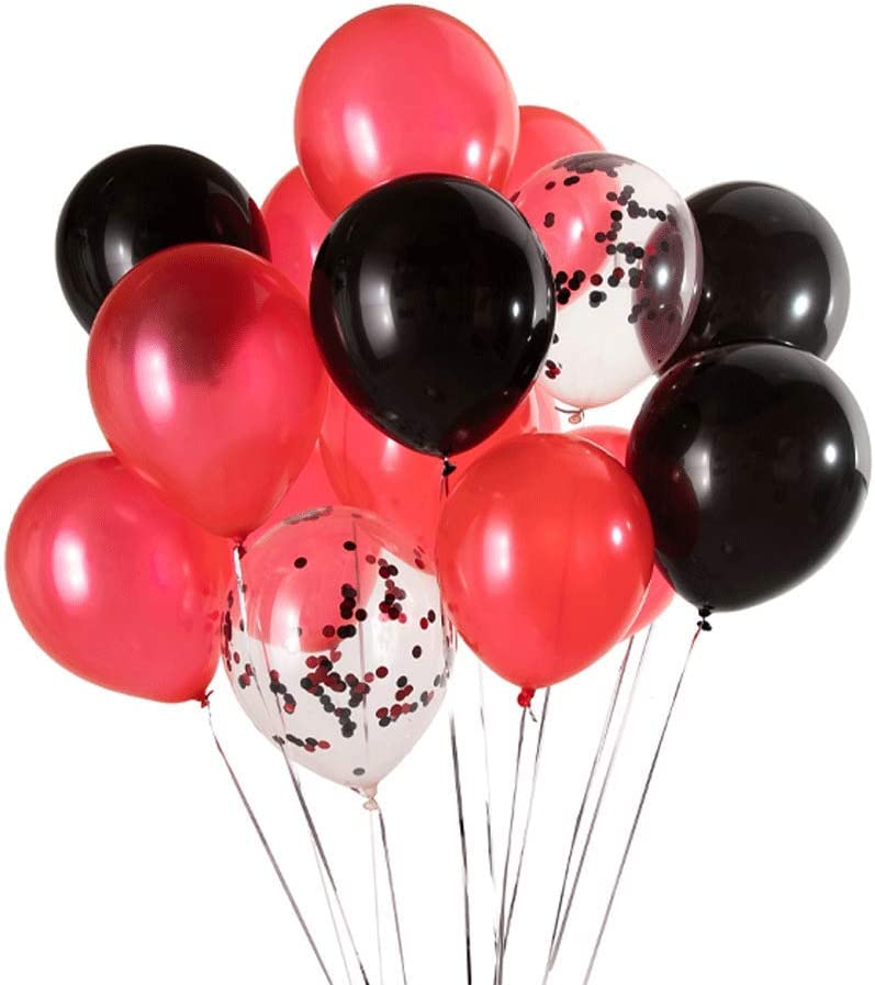 We Moment 12 Inch Black and Red Confetti Balloons Latex Party Balloon Decorations,Pack of 50