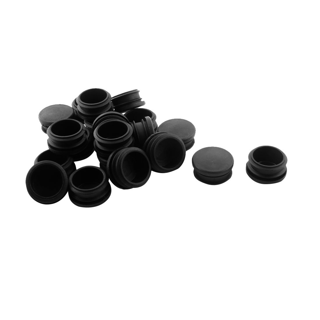 uxcell Round Table Chair Leg Tube Pipe Insert End Cap 30mm Dia 20pcs Black